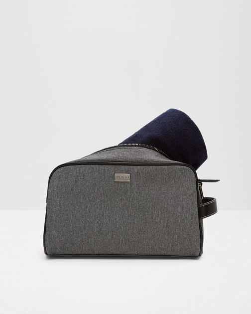 Ted Baker Towel And Set Grey Wash Bag