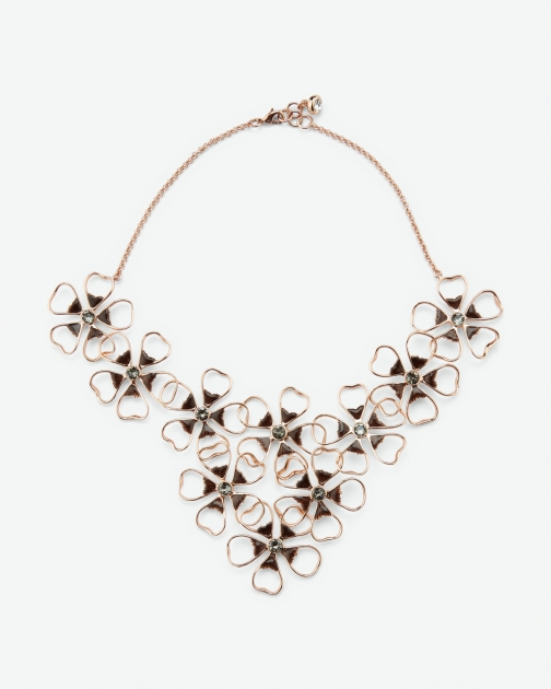 Ted Baker Floral Cluster Jet Necklace