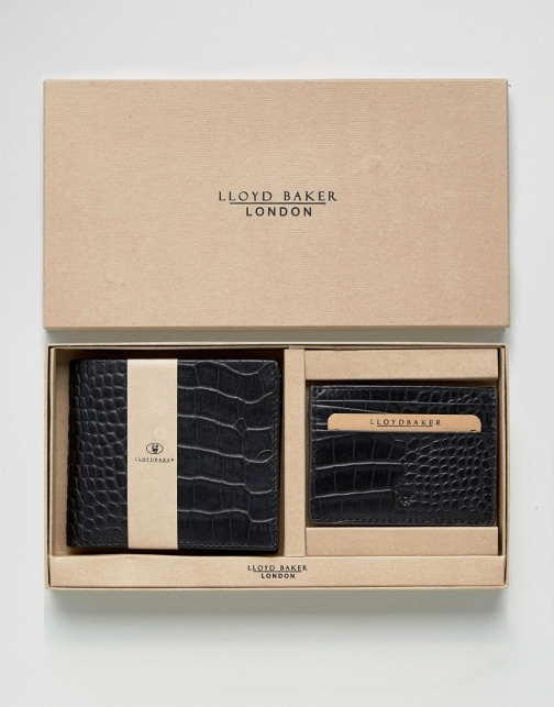 Asos Lloyd Baker Croc Leather And Card Holder Set Wallet
