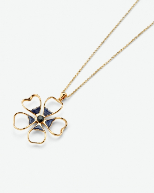 Ted Baker Enamel Flower Dark Blue Necklace