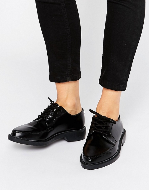 Asos T.U.K. Jam Point Lace Up Leather Flat Shoes