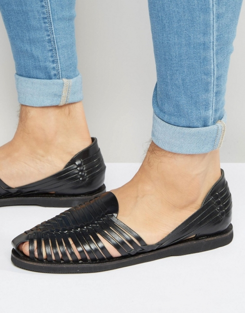 Kg By Kurt Geiger Woven Black Leather Sandal