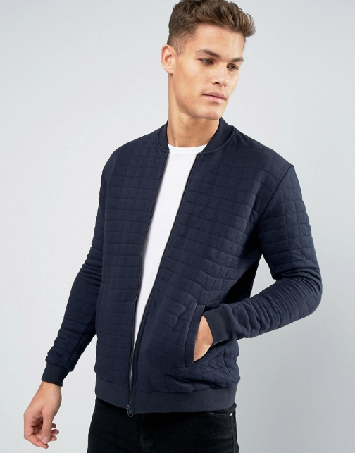French Connection Bomber Quilted Square Sweat Jumper