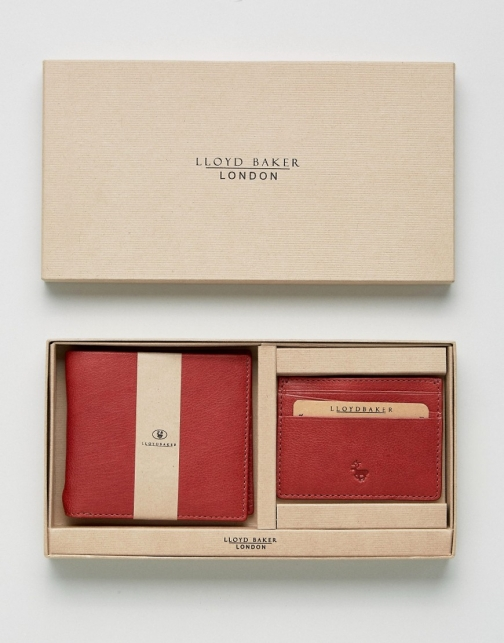 Asos Lloyd Baker Red Leather And Card Holder Set Wallet