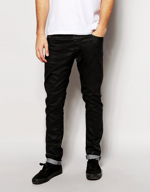 Diesel Tepphar Skinny Fit 663Q Stretch Black Coated Jeans