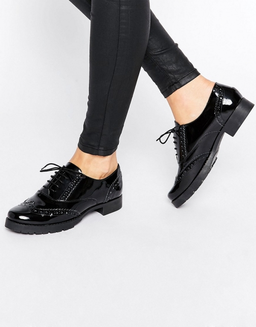 Office Foal Chunky Lace Up Leather Flat Shoes