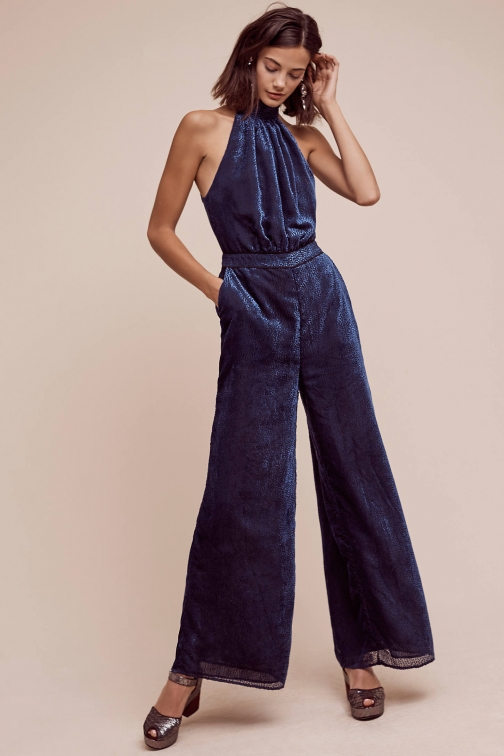 Anthropologie Nova Velvet , Navy Jumpsuit