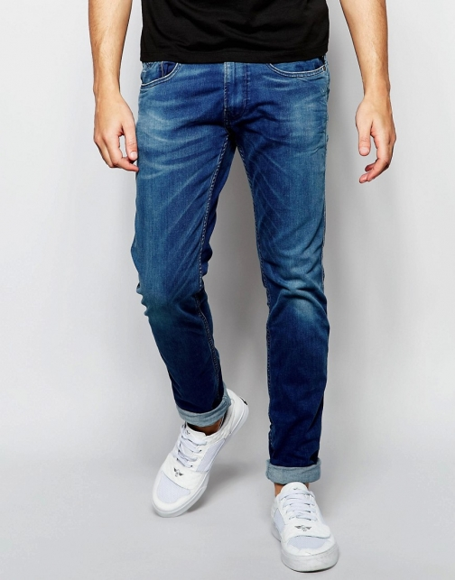 Replay Anbass Slim Fit Superstretch Ecoplus Mid Wash Jeans