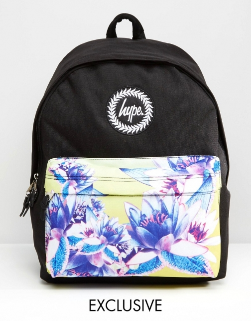 Hype Exclusive Floral Contrast Pocket Backpack