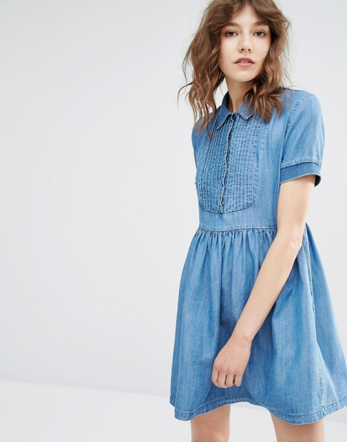 Paul & Joe Sister Paulina Ruffle Detail Denim Mini Dress