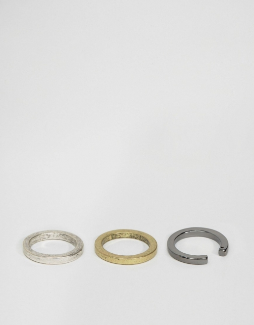 Asos Geometric Cut Away Pack Ring