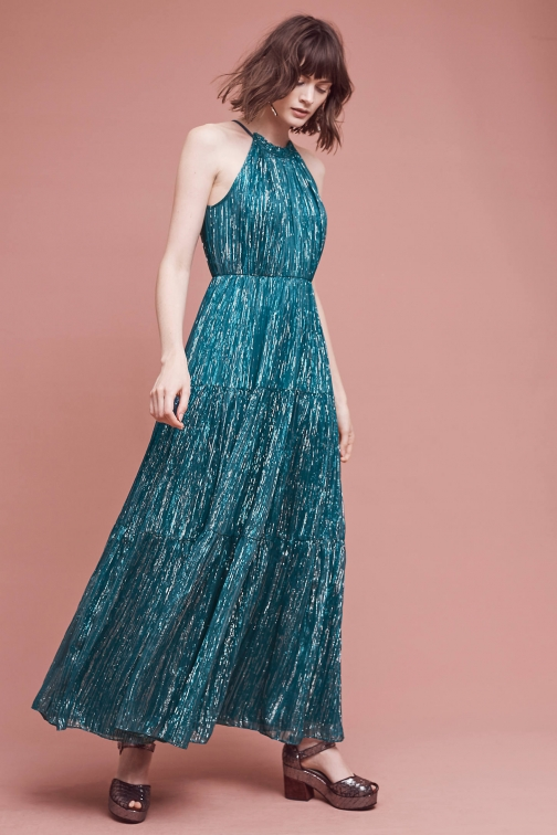 Anthropologie Celestial Halter , Turquoise Maxi Dress