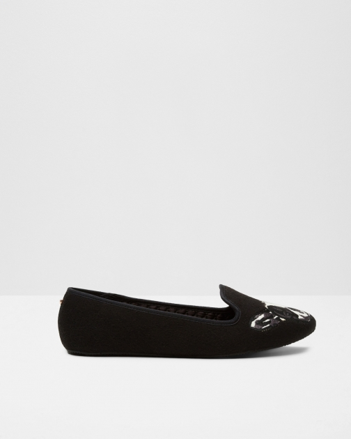 Ted Baker Puppy And Paw Black Slipper