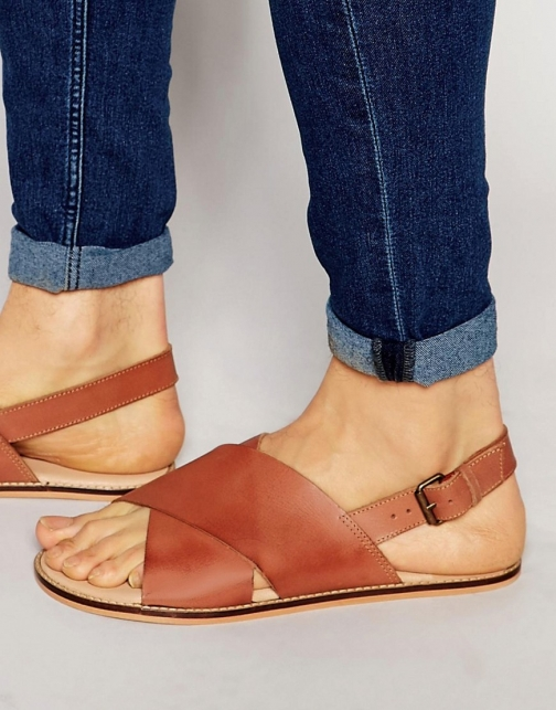 Asos Tan Leather With Cross Over Strap Sandal