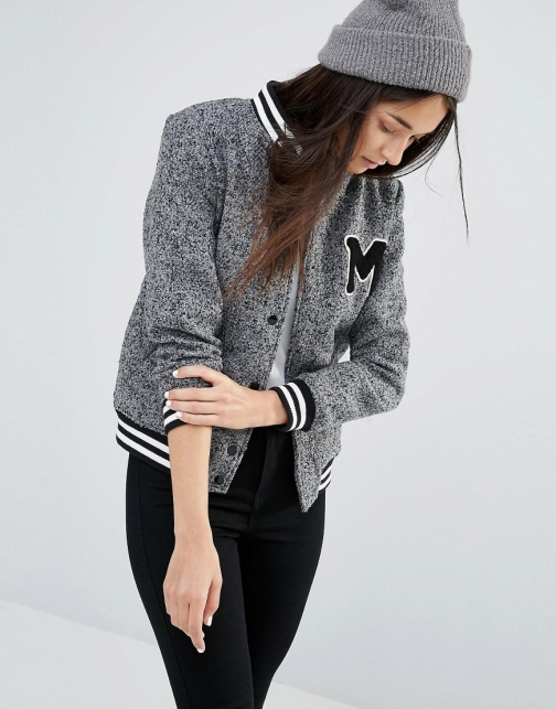 New Look Varsity Badge Bomber Jacket
