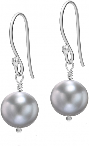 House Of Fraser Dower And Hall Silver Dove Grey Pearl Drop Earring