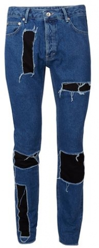 Topman Mens AAA Mid Wash Blue Patched , Blue Skinny Jeans