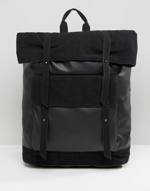 Asos With Faux Suede Trims Backpack
