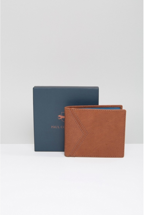 Paul Costelloe Leather Billfold Tan With Turquoise Contrast Wallet