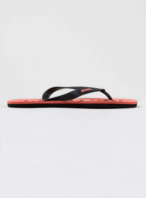 Topman Mens Hype Red And Black Logo Flip Flop