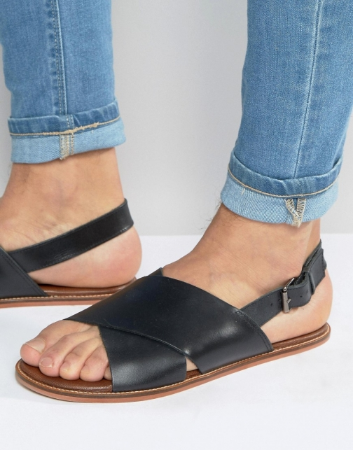 Asos Black Leather With Cross Over Strap Sandal