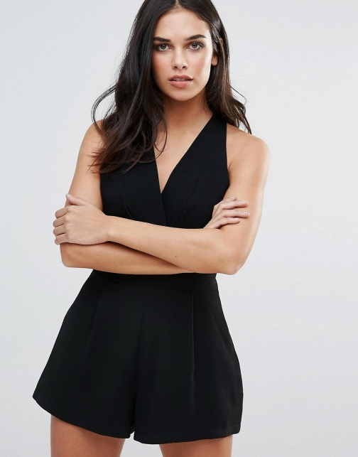 Love Pleated Bust Black Playsuit
