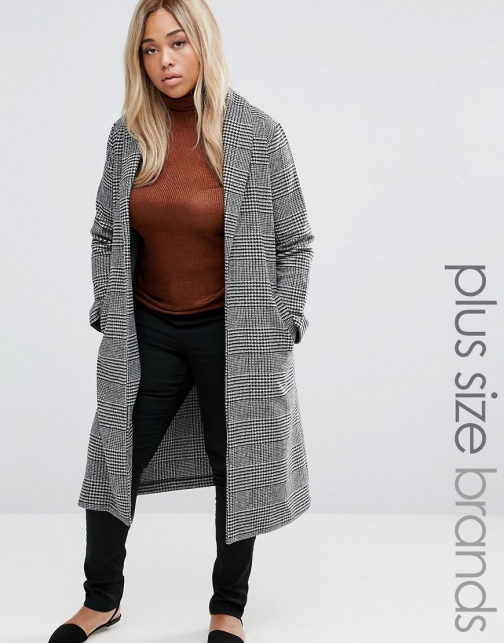 Asos New Look Plus Check Side Split Coat
