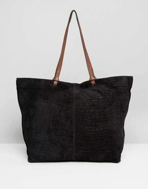Asos Suede Croc Shopper With Knot Detail Bag