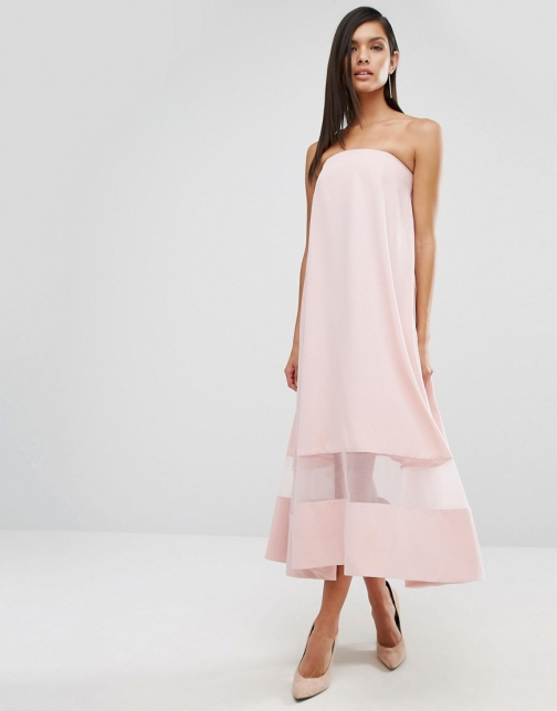 Aq/aq Sinead Sheer Panel Midi Dress