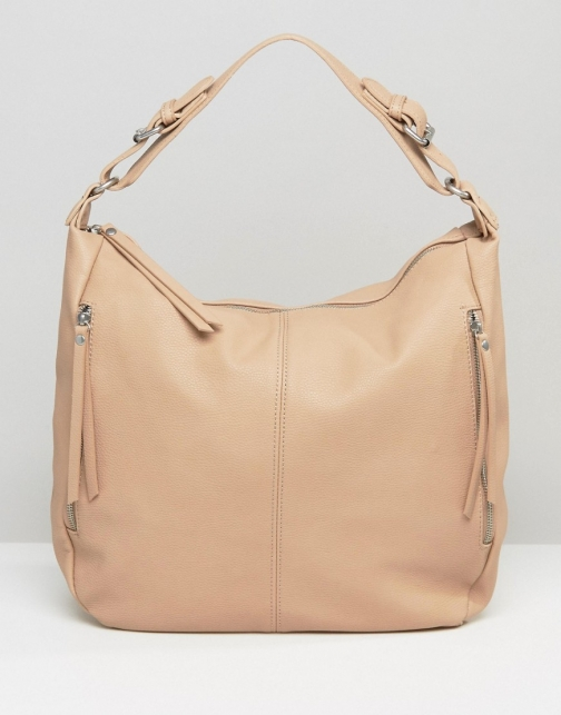 Pieces Slouch Hobo Shoulder Nude Bag