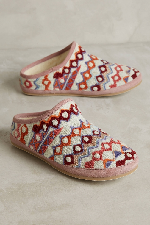 Anthropologie Embroidered Caro Slipper