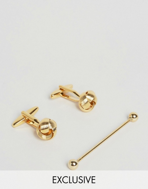 Reclaimed Vintage Knot & Collar Bar Gift Set Gold Cufflink