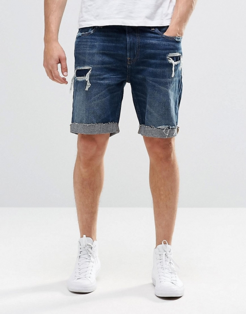 Asos Hollister With Distressing Denim Short