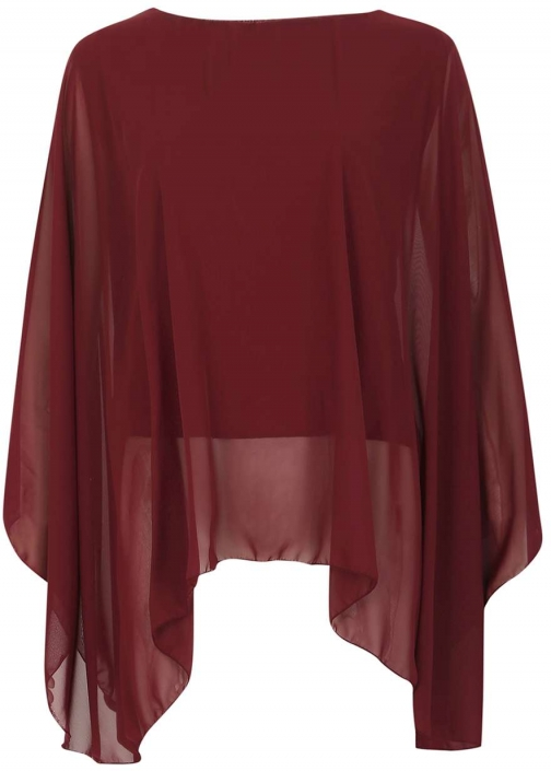 Dorothy Perkins Womens **Feverfish Burgundy Chiffon - Red Cape