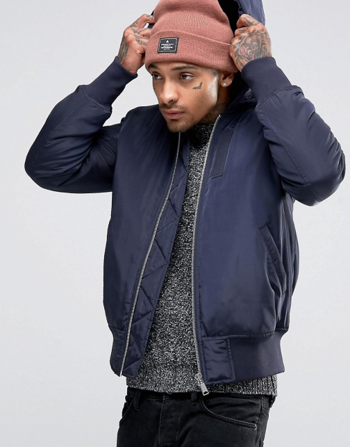 Asos Hooded With MA1 Pocket Navy Bomber Jacket