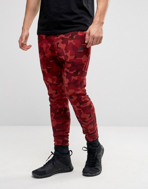 Nike Tech Camo Joggers Red 823499-674 Fleece