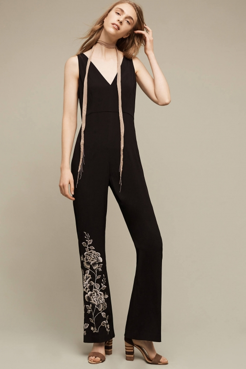 Anthropologie Tal Embroidered , Black Jumpsuit