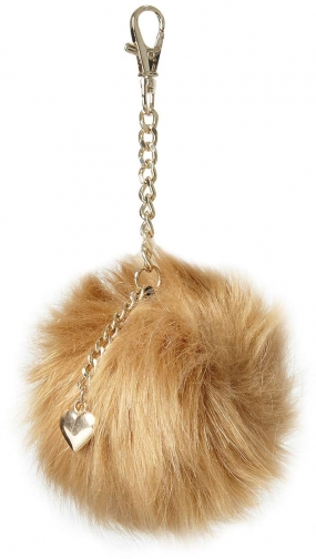 Dorothy Perkins Womens Mink Heart Pom Keyring- Brown Charm