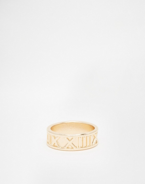 Asos With Roman Numerals Gold Ring