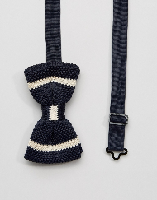 Asos 7X Knitted Navy Box Bow Tie