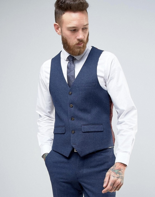 Asos Harry Brown Heritage Slim Fit Donegal Waistcoat Suit