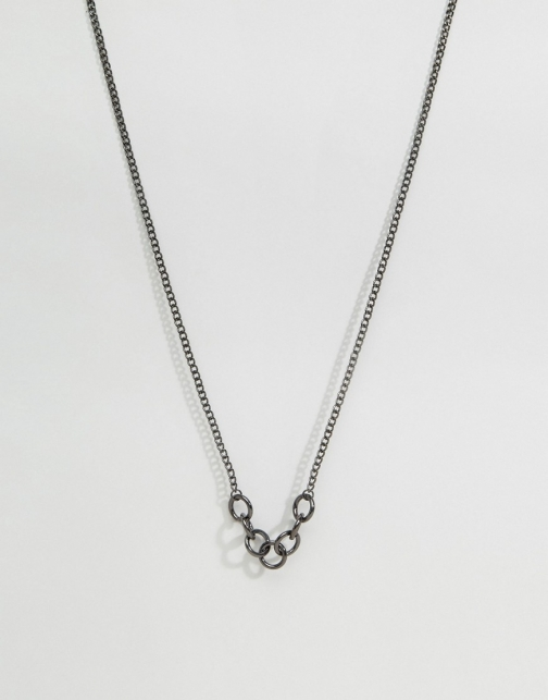 Asos Hoop Pendant Gunmetal Necklace