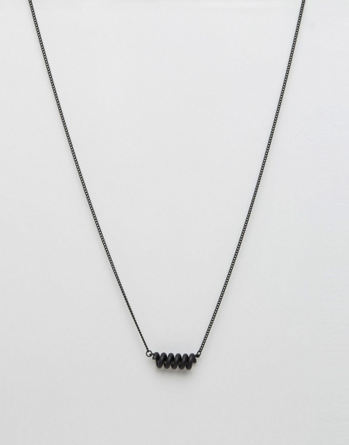 Asos With Coil Matt Black Necklace