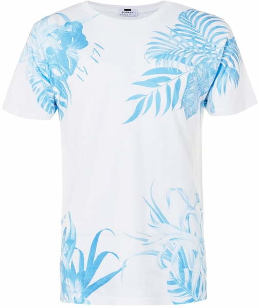 Topman Men's Topman White Blue Floral Print T-Shirt