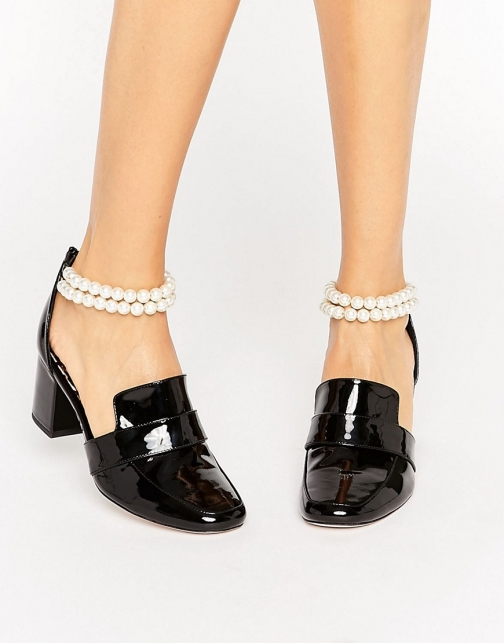 Asos WAH LONDON X ASOS Patent Leather Pearl Strap Heeled Loafer