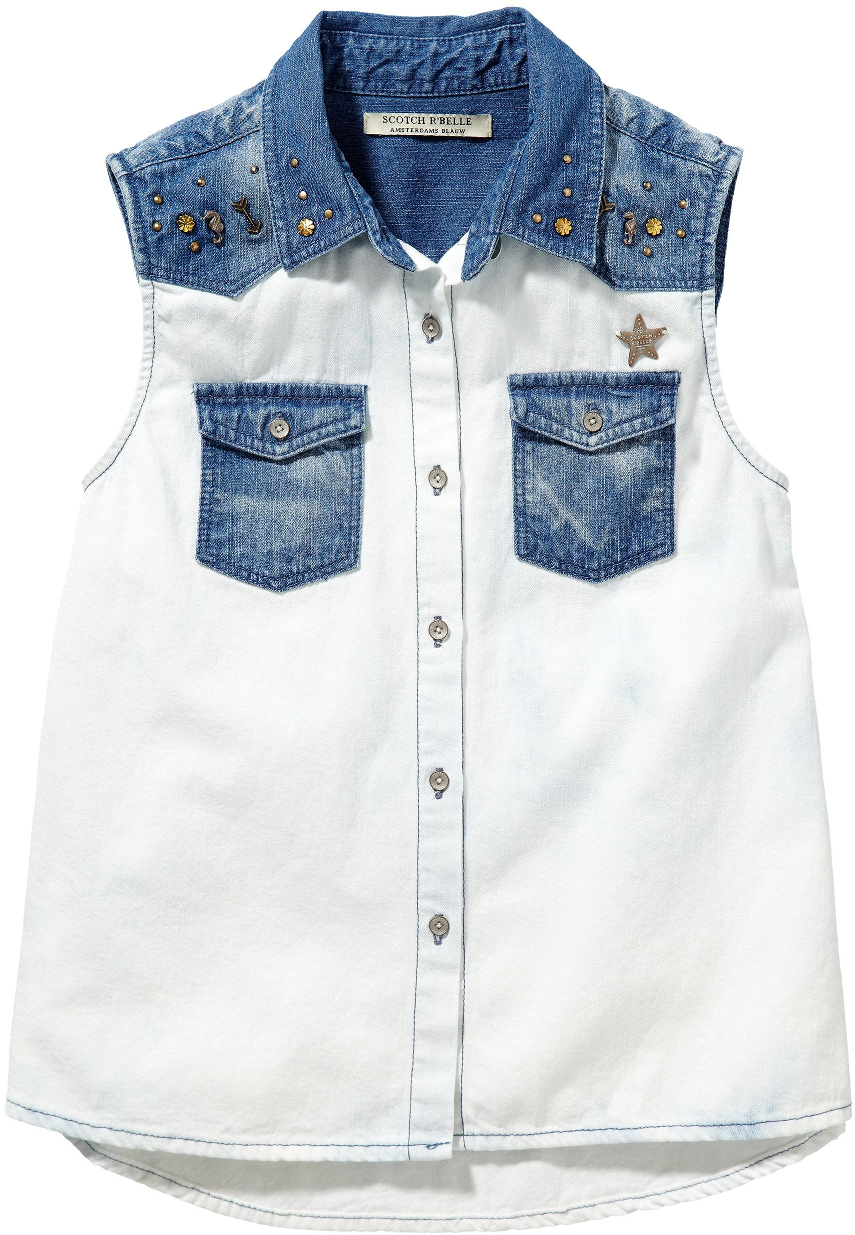 Scotch R'belle Girls Sleeveless Denim  Shirt