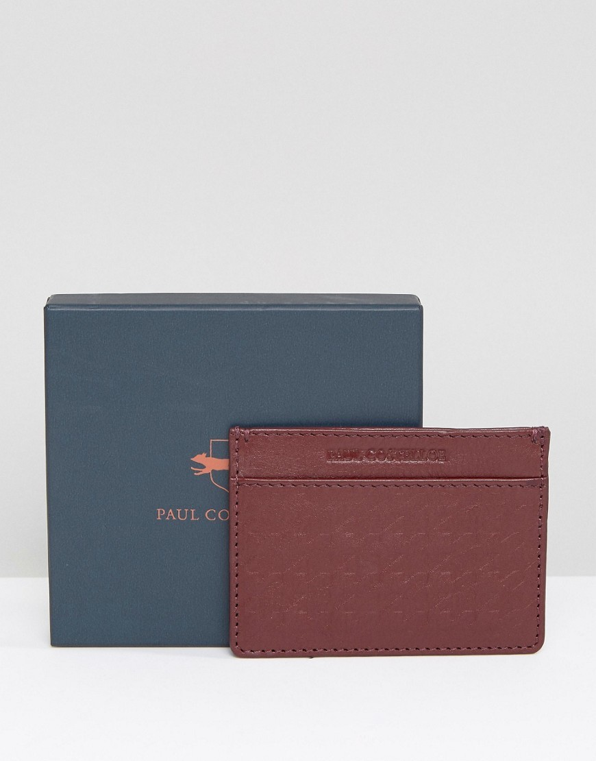 Paul Costelloe Leather Card Holder Textured Burgandy Accessorie