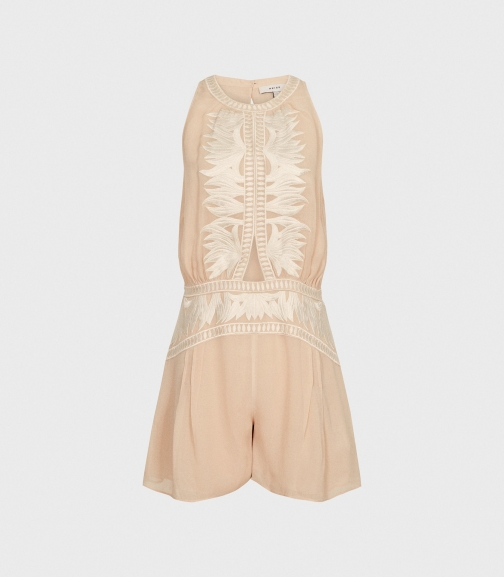 Reiss Coco - Embroidered Resortwear Nude, Womens, Size 14 Playsuit