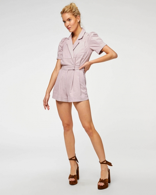 7 For All Mankind Womens Seamed Romper Soft Lavender Size: S Jumpsuit