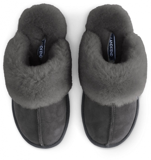 Lands' End Women's Suede Leather Shearling Fur Scuff - Lands' End - Gray - 6 Slippers